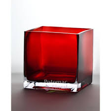 red glass square cube 6 tall x 6
