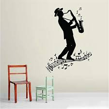 Amazon Com Diy Removable Vinyl Decal Mural Letter Wall Sticker Saxophone Player For Living Room Or Concert Hall Home Kitchen