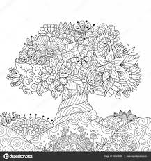 Beautiful Abstract Tree On Floral Ground For Design Element And