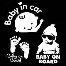 Amazon Com Townstix 3 In 1 Baby On Board Baby In Car Footprint Window Decal Stickers Automotive