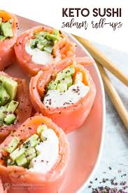 keto sushi smoked salmon roll ups