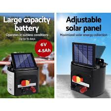 Giantz 3km 0 1j Solar Electric Fence Energiser Energizer Charger With Direct To Pet