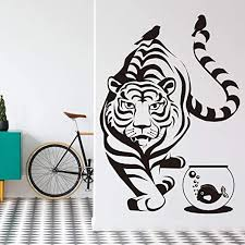 Amazon Com Vodoe Tiger Wall Decal Wild Animals Wall Decal Jungle Woods Kingdom Daniel Detroit Clemson Tigers Stickers Suitable For Family Living Room Vinyl Art Home Decor Black 21 6 X 30 7 Inches Home