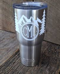 Mountains And Trees Monogram Adventure Wilderness Decal Only Tumbler Car Laptop Decal Cup Decal Laptop Decal Yeti Cup Designs