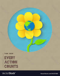 happy earth day paper flower quote royalty vector image