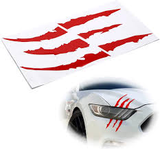 Amazon Com Ijdmtoy 1 Reflective Red Headlight Eye Scar Or Claw Scratch Shape Vinyl Decal Set Compatible With Car Truck Suv Automotive