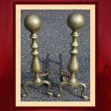 vintage brass ball andirons