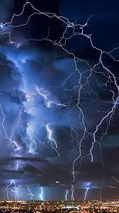 thunderstorm in city wallpaper iphone