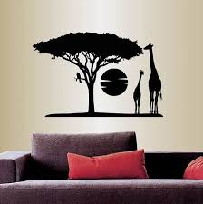 Amazon Com Wall Vinyl Decal Home Decor Art Sticker Africa Savannah Giraffes Tree Wild Animal Safari Landscape Travel Removable Stylish Mural Unique Design For Any Room 353 Home Kitchen