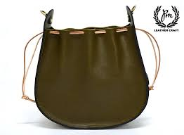 leather womens draw string bags in
