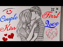 how to draw couple kiss drawing step by