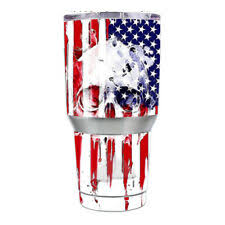 Skin Decal For Ozark Trail 30 Oz Tumbler Cup 6 Piece Kit U S A Flag Skull For Sale Online