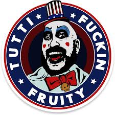 Amazon Com Neo Tactical Gear Tutti Fuckin Fruity Captain Spaulding House Of 1 000 Corpses Devil S Reject Vinyl Decal Made In The Usa 1 Clothing