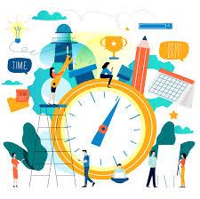 Gestão do tempo, agenda design plano ilustração vetorial para ...