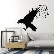 Vinyl Wall Decal Black Raven Crow Flock Of Birds Gothic Style Stickers G738 Ebay
