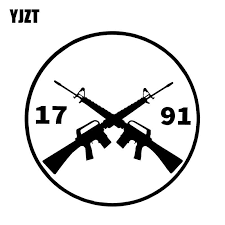 Yjzt 12 9 12 9cm Interesting Battle Flag Gun Fun Decoration Car Sticker Vinyl Graphic Bumper Window Decals C12 0230 Car Stickers Aliexpress