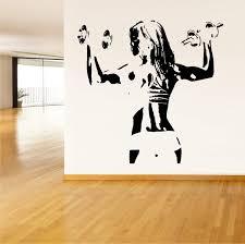 Amazon Com Vinyl Sticker Woman Girl Sport Fitness Work Out Strong Gym Mural Decal Wall Art Decor Eh176 Handmade