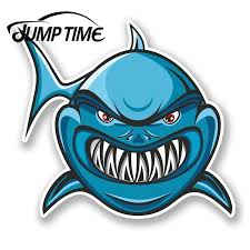 Jump Time For Angry Shark Vinyl Sticker Decal Laptop Car Bike Helmet Jaws Fish Decal Window Tank Waterproof Car Decoration Car Stickers Aliexpress