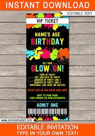 neon glow birthday party ticket invite