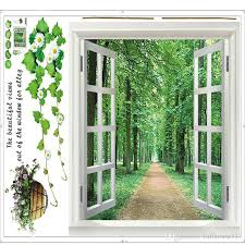 Open Window 3d Green View Flowers Plant Wall Stickers Art Mural Decal Path Scenery Wallpaper For Bedroom Living Room Home Decoration Sticker Wall Quotes Sticker Walls From Fullhouse517 2 98 Dhgate Com