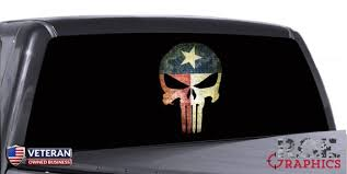 Punisher Skull Window Decal Distressed Texas Flag Vinyl Etsy