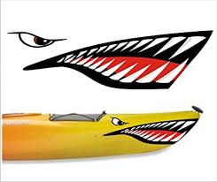 Amazon Com Decals101 Shark Teeth Mouth Decal Stickers Kayak Canoe Jet Ski Hobie Dagger Ocean Boat Sports Outdoors