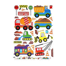 Digger Building Construction Truck Car Stickers Wall Decals Kids Bedroom Diw4q5 For Sale Online Ebay