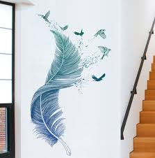 Large Feather Bird Drawing Pattern Vinyl Wall Sticker Wall Etsy