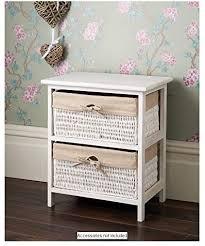 wicker basket style 2 drawer unit