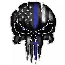 13x9 5 Cm Waterproof Car Stickers Decal Thin Blue Line For Punisher Skull Reflective Personalized Vinyl Car Styling Accessories Car Stickers Aliexpress