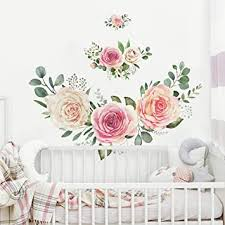 Roommates Roses Peel And Stick Giant Wall Decals Pink And Green Wall Stickers Amazon Com