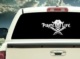Pirate Life With Pirate Skull And Cross Knives Vinyl Decal