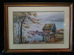 Nantucket Artist Lillian Gertrude Smith Watercolor~Fishermen Dock~FREE  SHIPPING | eBay