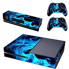 Amazon Com Uushop Protective Vinyl Skin Decal Cover For Microsoft Xbox One Console Wrap Sticker Skins With Two Free Wireless Controller Decals Blue Fire Flame Not For One S Or X Video Games