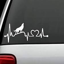 Amazon Com Bluegrass Decals K1104 Howling Wolf Heartbeat Lifeline Decal Sticker Automotive