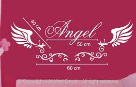 Customise Name With Angel Wings Wall Sticker For Some One You Love Ebay