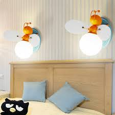 Cartoon Cute Bee Wall Sconce Kids Bedroom Night Light White Glass Ceiling Lamp Ebay