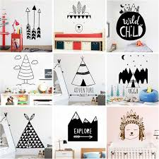 Nordic Tribal Forest Vinyl Wall Sticker For Kids Rooms Decoration Home Child Boys Bedroom Decor Stickers Animals Fox Arrow Mural Wall Stickers Aliexpress