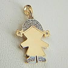 14k yellow gold baby girl charm pendant