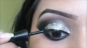 silver glitter smokey eye makeup