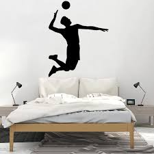 Volleyball Wall Decal Teen Room Decoration Athlete Vinyl Sticker Removable Home Decor Creative Murals Sports Player Jump O111 Wall Stickers Aliexpress