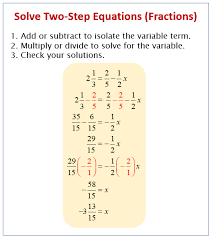solving two step equations fractions