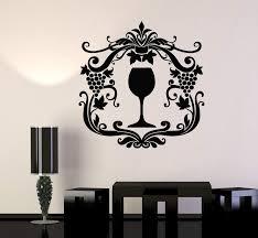 Vinyl Wall Decal Wine Glass Alcohol Drink Grape Kitchen Design Sticker Wallstickers4you
