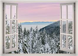 Amazon Com Snow Winter Trees Landscape Window 3d Wall Decal Art Removable Wallpaper Mural Sticker Vinyl Home Decor West Mountain W36 Medium 32 W X 23 H Home Kitchen