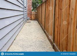 Pathway Between House And Fence Down Side Yard Stock Photo Image Of Gutters Chipping 125403726