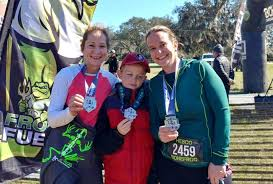 """Bonefrog - IT'S MEDAL MONDAY!! Today we celebrate the SPRINT. Sandra  Ketcher & Polly Meyer ran the Sprint in Orlando . """"It was all our first  time and it was so much"""