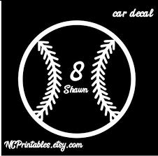 Baseball Softball Personalized Car Decal Sticker Etsy