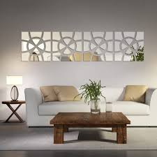 Amazon Com Modern Creative Design 3d Acrylic Mirror Wall Sticker Living Room Bedroom Home Decoration Diy Mirrored Wall Decals Art Decor Stickers Adesivo De Parede Silver 30120cm Home Kitchen