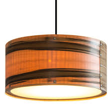 timber veneer drum pendant lights
