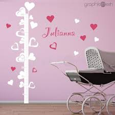 Hearts Growth Chart With Personalized Name Wall Decals Graphicsmesh
